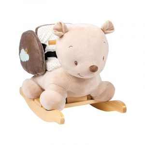 Nattou Rocking Teddy Bearis a fun teddy-shaped rocking toy! It is very soft to the touch and has a rocking base made of wood.