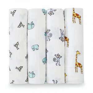 aden + anais Mussole Swaddle Classic Jungle Jam - Set 4 pz 120x120 cm