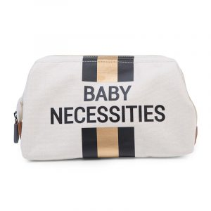 Childhome Beauty Case Baby Necessities Canvas OffWhite Stripes Black/Gold